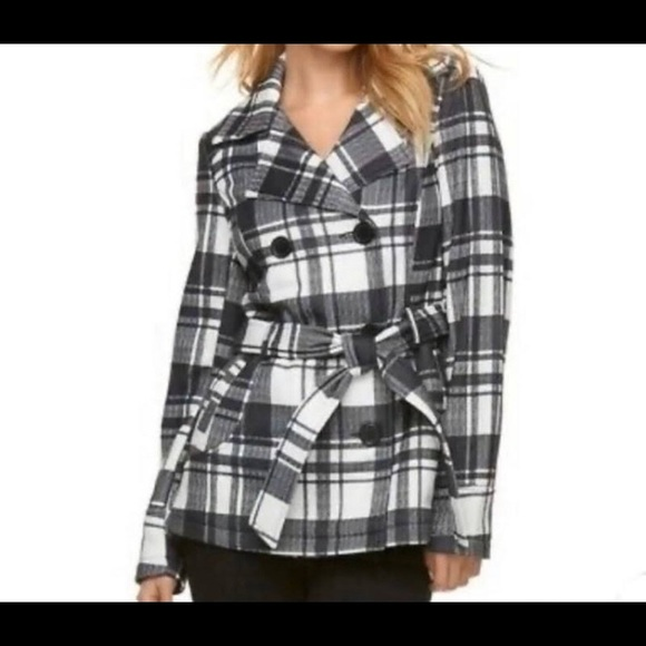 Plaid grey/white belted coat
